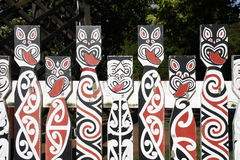 Maori art. Maori painted decorations in Rotorua, New Zealand stock images