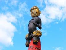 Maori Art. van het Beeldhouwwerk stock afbeeldingen