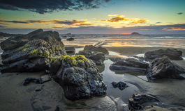Maori Bay. After the sunset at Maori Bay, Auckland, New Zealand stock photography