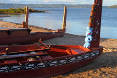 Maori boats. Traditional Maori wood carved canoes on the shore in New Zealand stock photos
