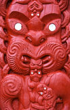 Maori Carving. Close up of elaborate Maori carving on meeting house in Rotorua, North Island, New Zealand stock photos