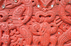 Maori Carving. Detail of an old beautiful maori carving, Rotorua, New Zealand royalty free stock image