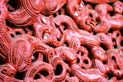 Maori Carving. Honolulu, Hawaii - May 27, 2016: Close up image of Maori Carving inside the Aotearoa Village at the Polynesian Cultural Center Stock Photo
