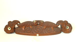 Maori Carving Wakahuia Old. 400mm long Wakahuia Lid for ceremonial Stock Photos