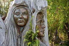Maori carvings. Are often found in the parks of New Zealand royalty free stock photos