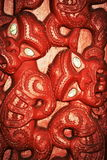Maori carvings. Honolulu, Hawaii - May 27, 2016:Close up image of Maori carvings found in the Aotearoa Village within the Polynesian Cultural Center on Oahu, a Stock Photo
