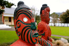 Maori carvings new zealand. Coromandel stock photo