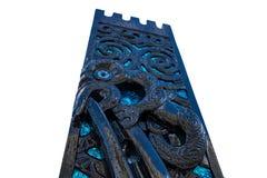 Maori Carvings White Isolated Background lizenzfreie stockbilder
