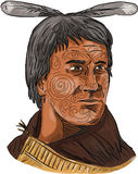 Maori Chief Warrior Bust Watercolor Royalty Free Stock Image