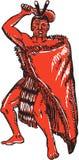 Maori Chief Warrior Holding Patu Etching Royalty Free Stock Image