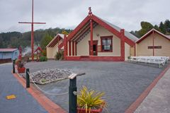 Maori church in Rotorua indeginous village, New Zealand. Maori church in Rotorua indeginous village in New Zealand, maori culture style, new zealands maori stock image