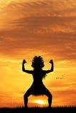 Maori dance at sunset Royalty Free Stock Image