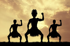 Maori dance at sunset Stock Photography