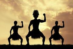 Maori dance at sunset Stock Photography