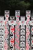 Maori designs on a fence at the Government Gardens, Rotorua, Aotearoa. A number of Maori designs on a fence at the Government Gardens, Rotorua, Aotearoa royalty free stock images