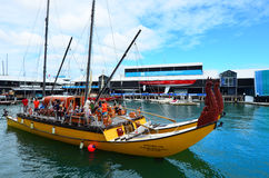 Maori double-hulled waka heritage sailing outside New Zealand Ma. AUCKLAND,  NZL - JAN 30 2016:Maori double-hulled waka heritage sailing outside New Zealand Royalty Free Stock Image
