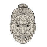 Maori Face with Moko facial Tattoo Royalty Free Stock Photography