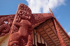 Maori house in Rotorua Royalty Free Stock Photo