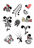Maori Koru Design Elements Color-Satz Lizenzfreie Stockbilder