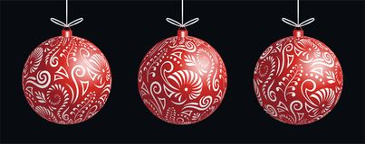 Maori koru red xmas bauble decoration ball for Christmas tree banner stock images