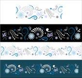 Maori Koru Seamless Border. Stylised Maori Koru with Nautilus Seamless Color Border Royalty Free Stock Photography