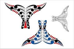 Maori Koru Whale Tail Design. Stylised Maori Koru Whale Tail Design with color variations Royalty Free Stock Images