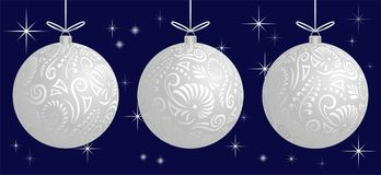 Maori koru white frosted xmas bauble decoration ball for Christmas tree banner royalty free stock photos