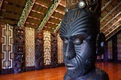 Maori mötehus - Marae Arkivbild