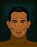 Maori man with tattoed face Royalty Free Stock Images
