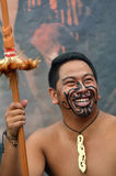 Maori man in traditional greeting. AUCKLAND, NZL - JAN 30 2016:Maori man smile. Maori are the indigenous people of New Zealand that migrated to New Zealand from stock photo