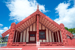 Maori marae (meeting house and meeting ground) Stock Photo