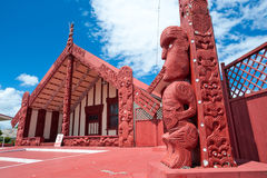 Maori marae (meeting house and meeting ground) Royalty Free Stock Images