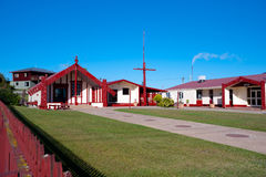 Maori marae (meeting house and meeting ground) Stock Images