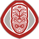 Maori Mask Face Front Shield Retro Stock Image