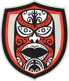 Maori Mask Shield Retro Stockbild