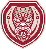 Maori Mask Tongue Out Shield Retro Stock Image