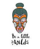 Maori mask. Vector print design. Stylish card with boho lettering. Tribal pattern. Stock Images