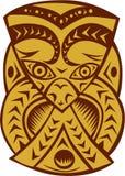 Maori Mask Woodcut Stock Photography