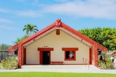 A Maori meeting house. Honolulu, Hawaii - May 27, 2016:A Maori meeting house inside the Aotearoa Village at the Polynesian Cultural Center Royalty Free Stock Image