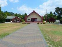 Maori meeting house in Rotorua Maori cultural center New Zealand stock photo