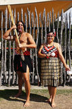 Maori natives. Picture of man and woman Maori natives royalty free stock photo
