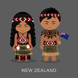 Maori. New Zealanders in national dress with a flag. Man and woman in traditional costume. Travel to New Zealand. People. Vector flat illustration Vector Illustration