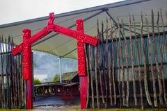 Maori Outdoor Meeting Area Rotorua, NZ. An outdoor meeting area at Whakarewarewa, the Living Maori Village in Rotorua, New Zealand, Aotearoa Stock Image