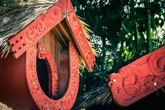 A Maori Pataka food store in the Aotearoa Village at the Polynesian Cultural Center. Honolulu, Hawaii - May 27, 2016: A Maori Pataka food store in the Aotearoa Royalty Free Stock Photos