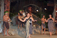 Maori people village. Maori people sing and dance. Maori are the indigenous people of New Zealand that migrated to New Zealand from Polynesia1000 years ago stock photography