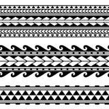 Maori polynesian tattoo border. Tribal sleeve seamless pattern vector. stock illustration