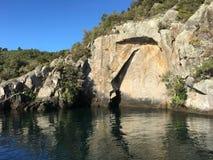 Maori Rock Carving au lac Taupo Nouvelle-Zélande Photographie stock libre de droits