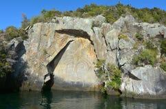 Maori Rock Carving au lac Taupo Nouvelle-Zélande Image libre de droits