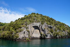 Maori Rock Carvings Fotografie Stock