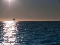Maori sailing waka of Tauranga coast. Royalty Free Stock Photo